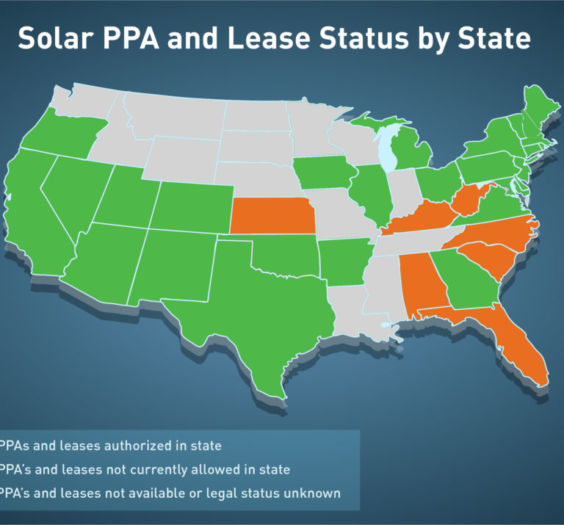Solar PPA and Lease Status by State Info-Graphic